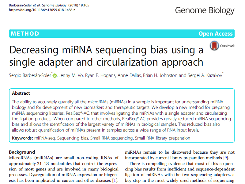 Download publication: Reduce miRNA-seq bias with single adapter and circularisation