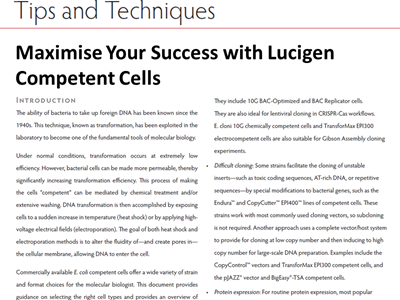 Download the Lucigen tips and techniques article
